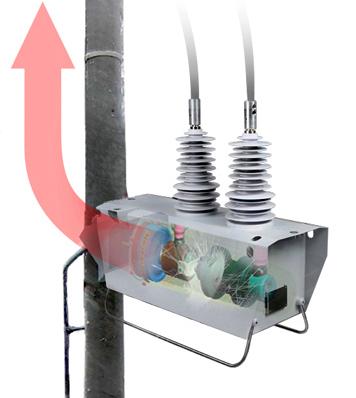 En un evento de arco, el reconectador OSM de NOJA Power para montaje en poste direcciona los gases calientes hacia arriba del poste, minimizando el riesgo del equipo de mantenimiento o gente que podría estar abajo en la superficie.