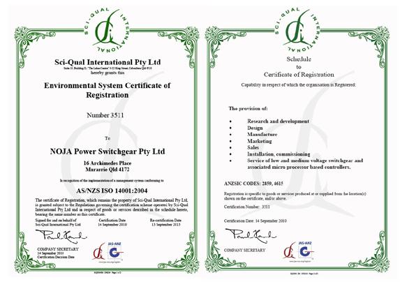 Acreditación ISO 14001 de NOJA Power