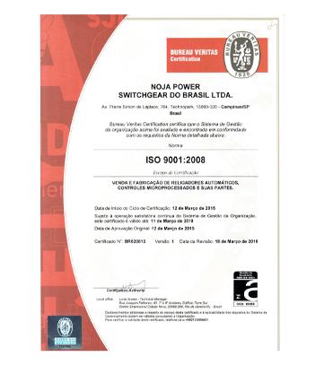 NOJA Power Brasil gana la certificación de calidad de administración ISO 9001:2008
