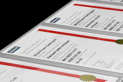 Certificados de pruebas tipo