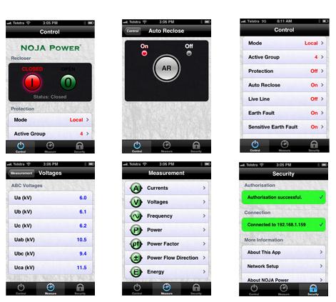 App de reconectador NOJA Power para iPad y iPhone.