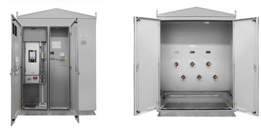 Kiosco para montaje en tierra personalizado con enclavamiento mecanico (cremallera y piñón) entre el Reconectador y el interruptor de tierra